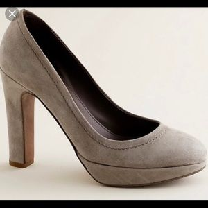 J. Crew Coddington Suede Platform Pumps Taupe